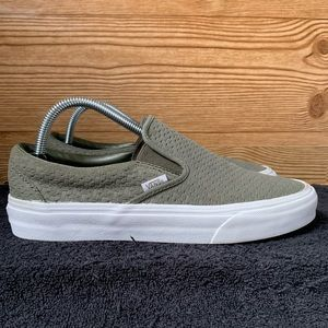 Vans Leather olive green Slip ons.(Women's 9.5)